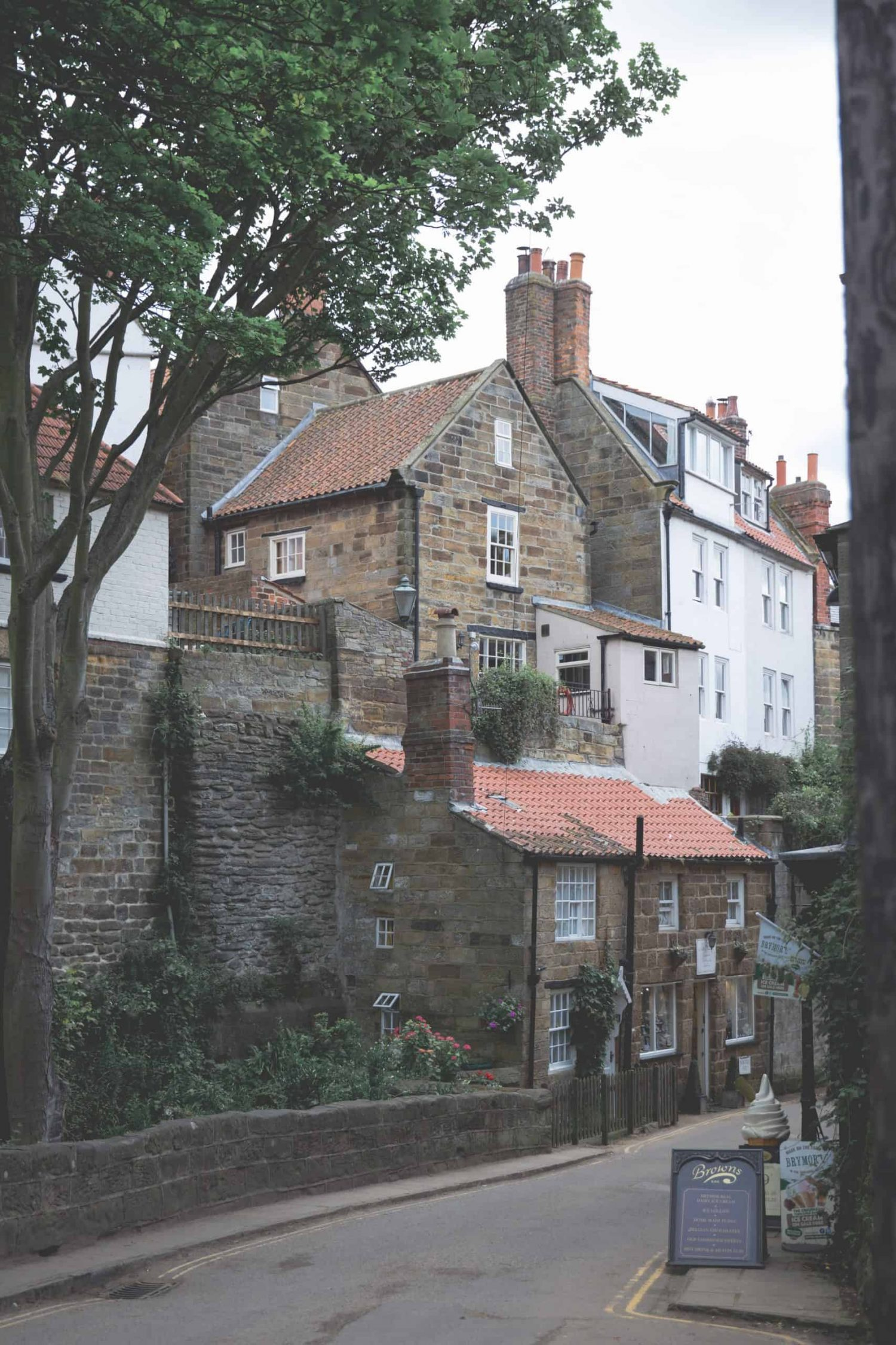 The main street going into Robin Hood's Bay, a great travel destination for 2020.