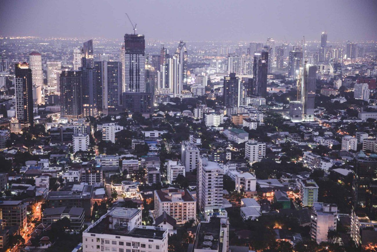 Bangkok buildings at night