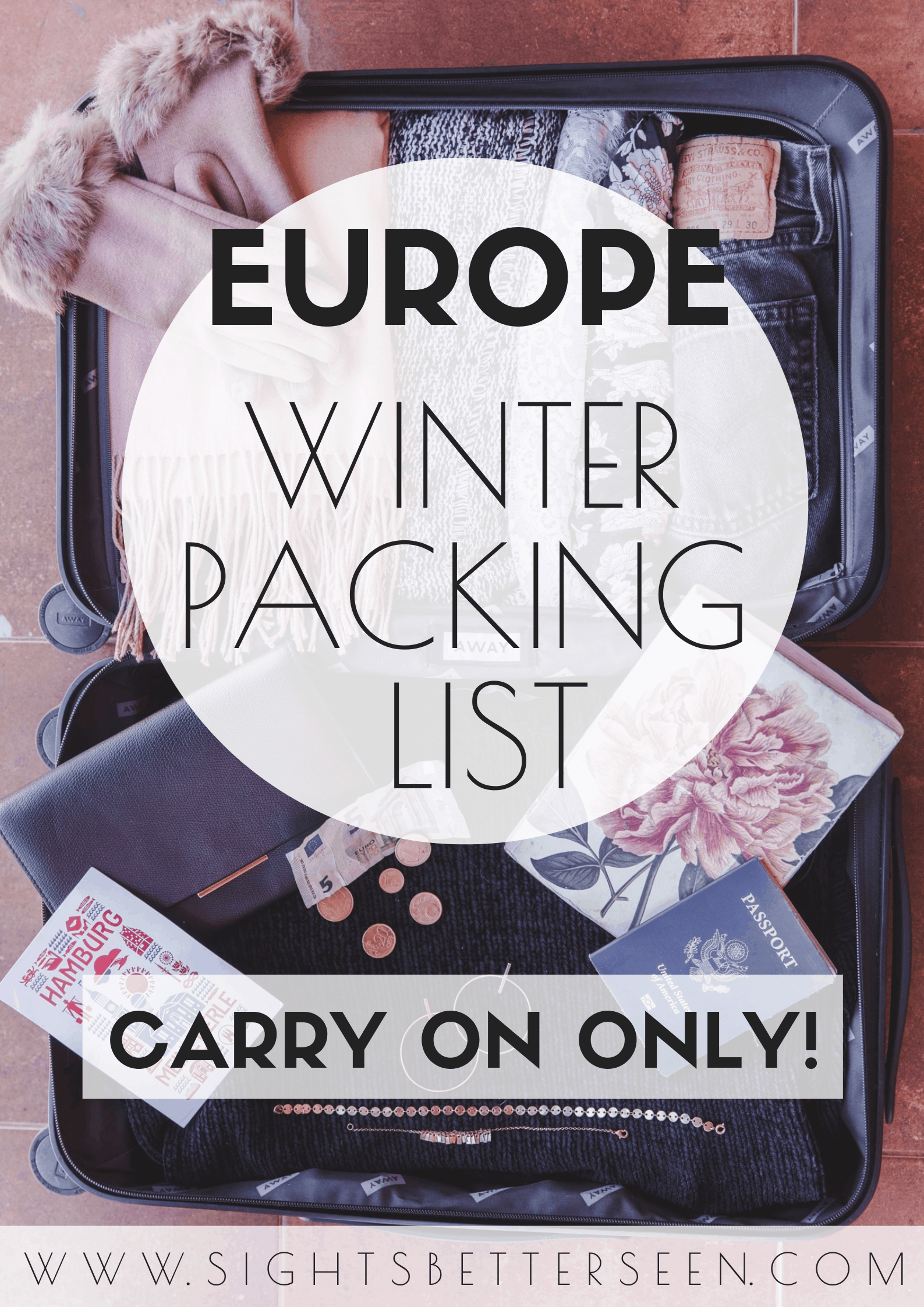 A winter packing list for longterm travel in Europe for January, February, and March. This will help women choose the best outfits and items for cold weather travel!