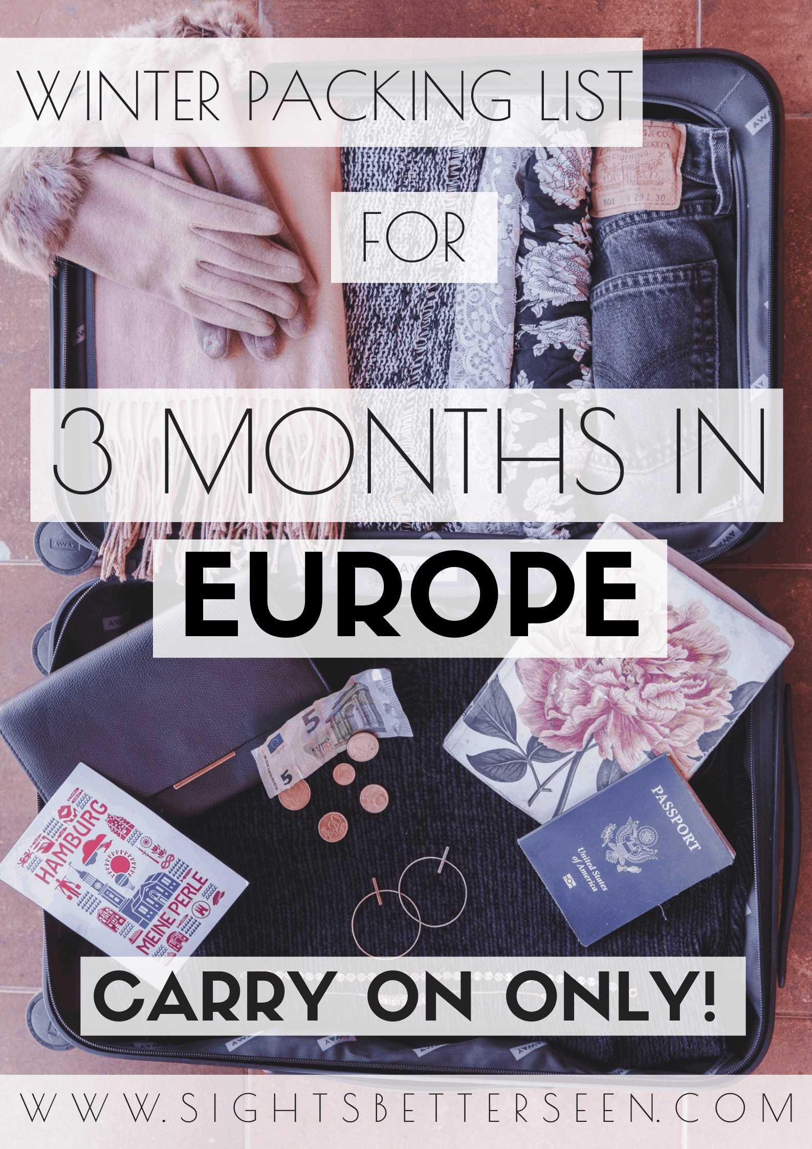 Female winter packing list for 3 Months in Europe with a carry on suitcase. This packing list will help you choose the best outfits for cold weather travel!