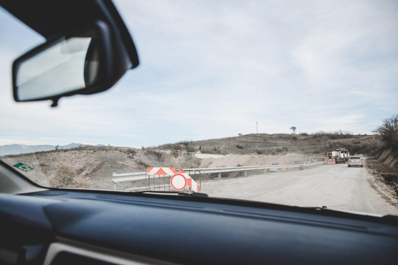 The road closure in Melnik, Bulgaria