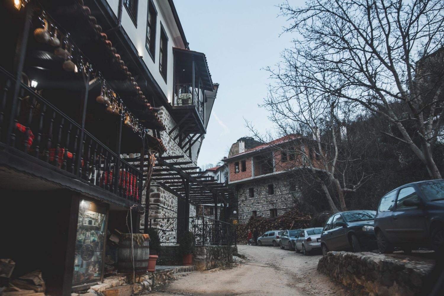 The main street in Melnik, Bulgaria is lined with shops and restaurants.