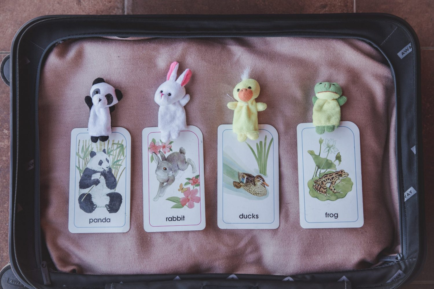 Animal puppets, like pandas, rabbits, ducks, and frogs, are a great props and rewards to use in your VIP Kid online classroom!