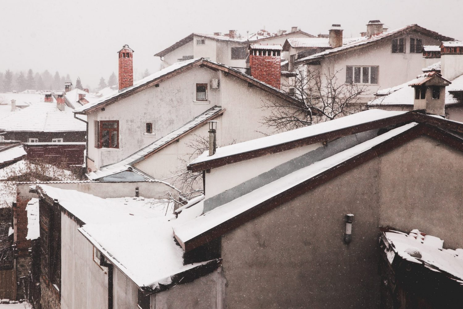 Snow covered rooftops in Bansko, Bulgaria in winter