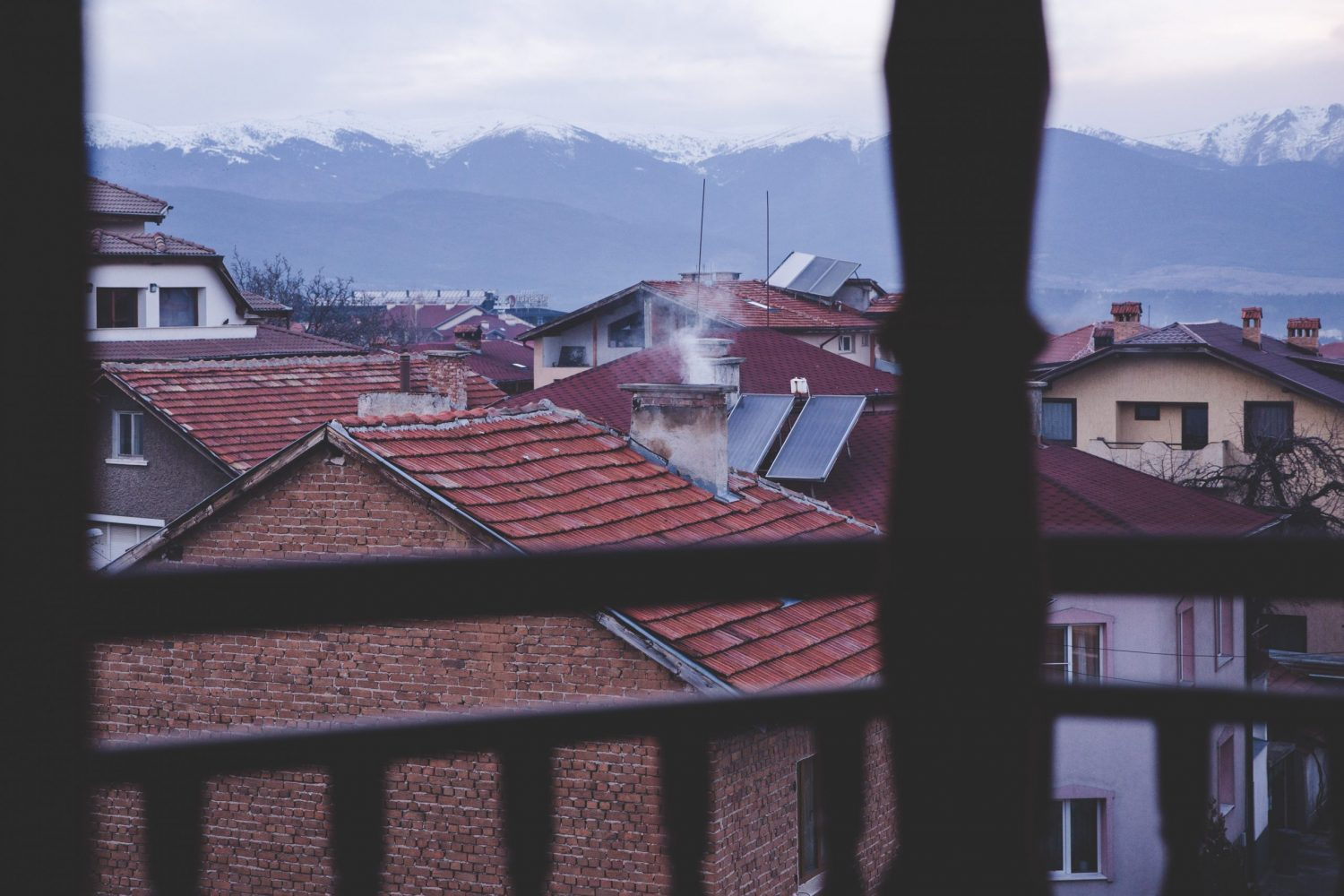 Rooftops in Bansko, Bulgaria in the evening