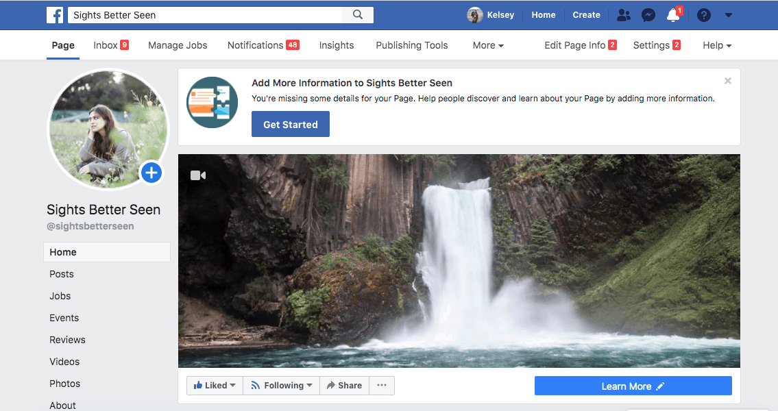 Facebook page for Sights Better Seen