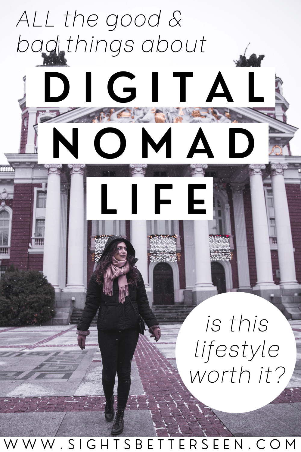 Kelsey outside the National Theater in Sofia, Bulgaria