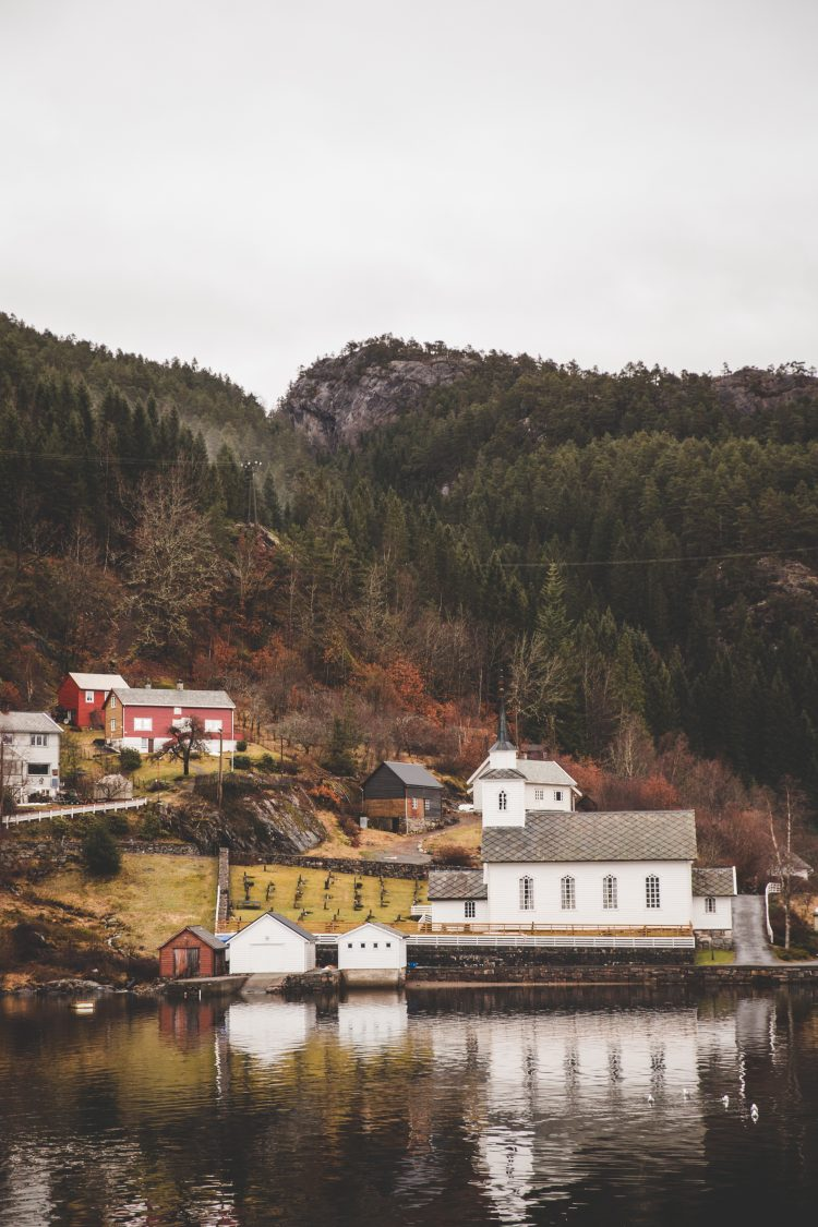 houses on the shore of mountains and trees in Bergen, Norway
