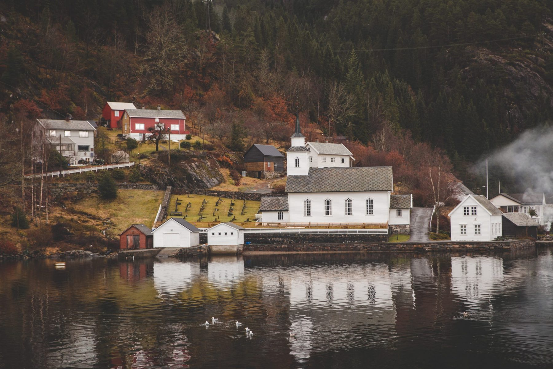 View of mountains, small white and red houses on the shore and reflected in the water on a fjord tour in the Osterfjord from Bergen, Norway