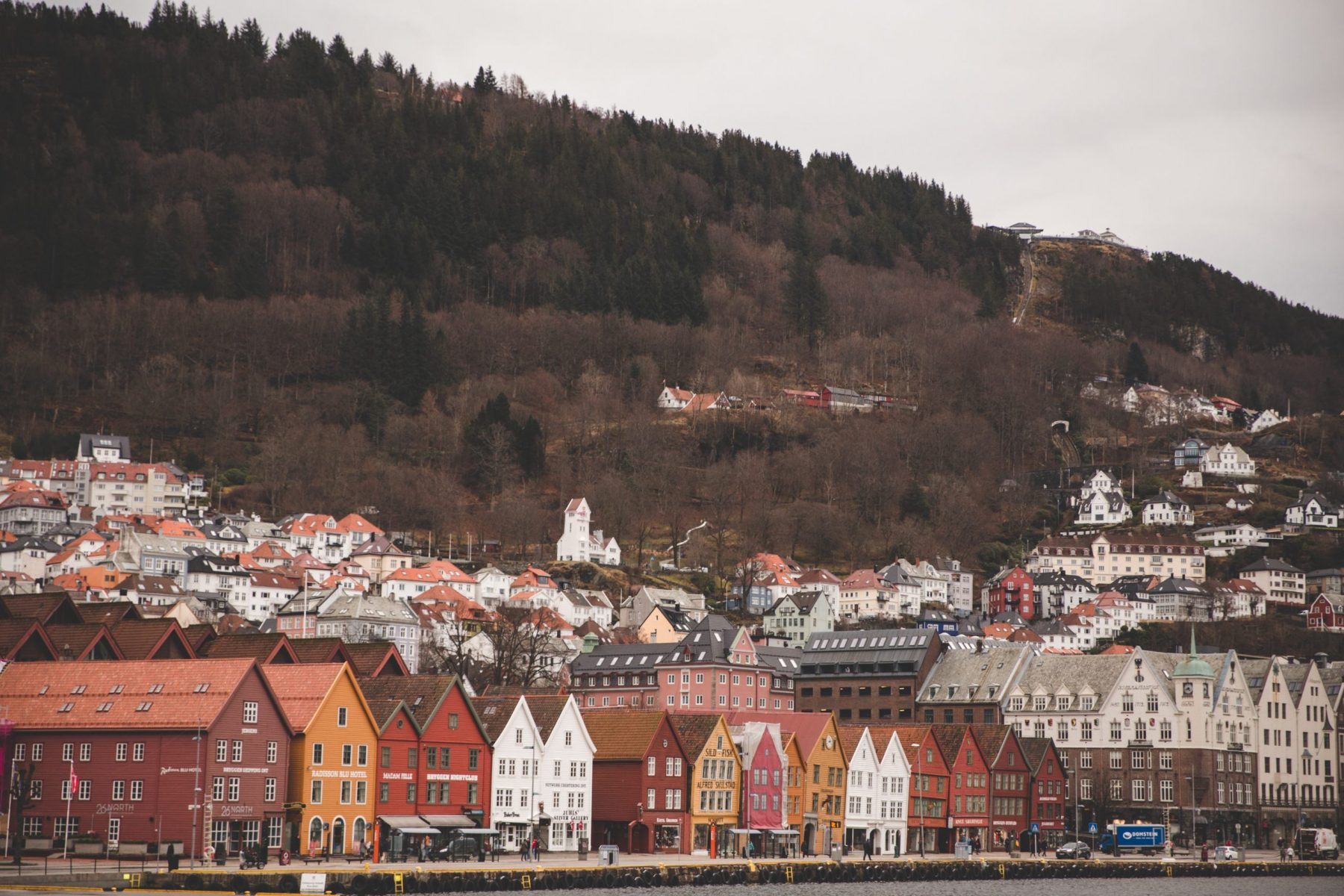 The red, yellow, white, and brown buildings that make up Bryggen in Bergen, Norway as seen from a fjord cruise boat