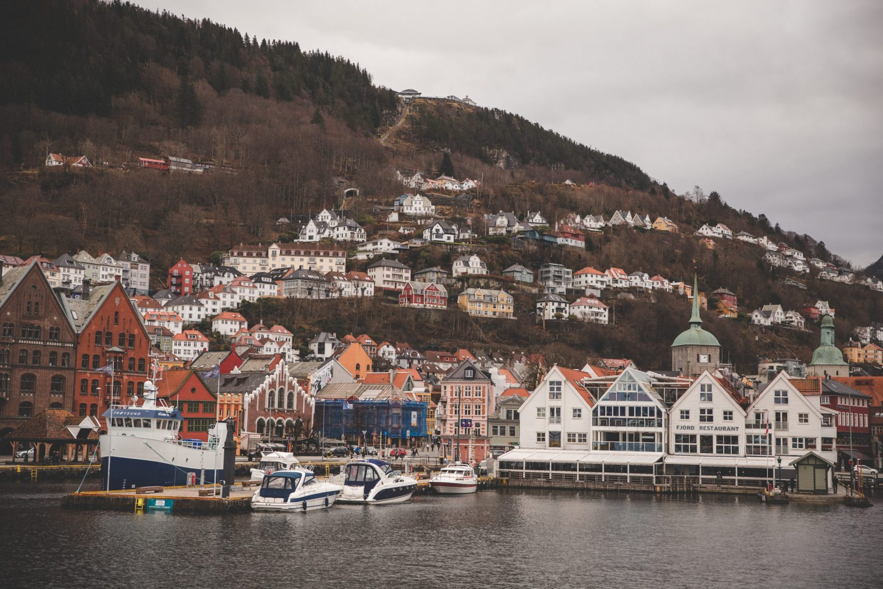 The harbor in Bergen, Norway as seen from the fjord cruise