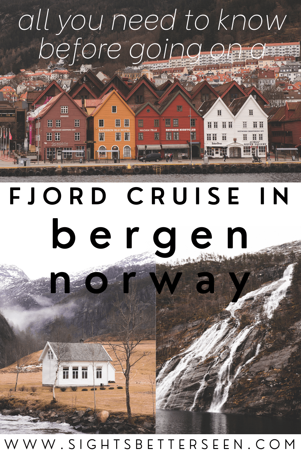 Bryggen, a waterfall, and a white house in a Norwegian Fjord in Fjord Cruise in Bergen, Norway