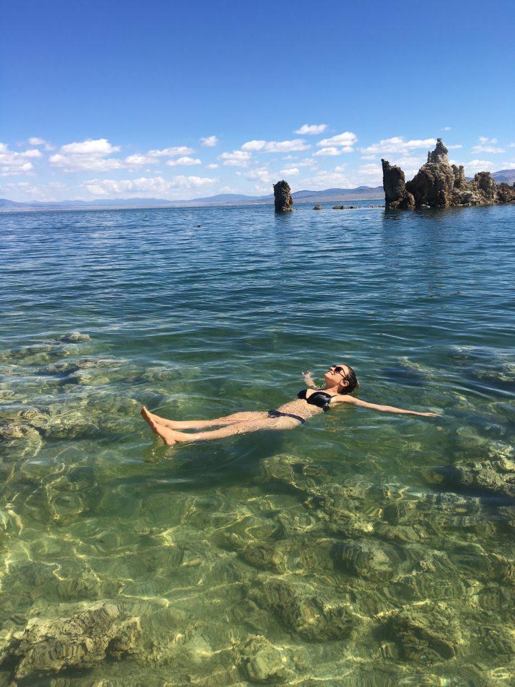 Kelsey Floating in Mono Lake in the Eastern Sierras
