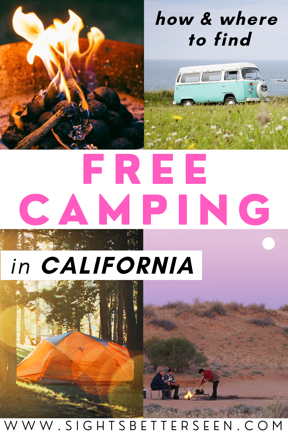 how to find free camping in California in a tent, van, RV, and campfire