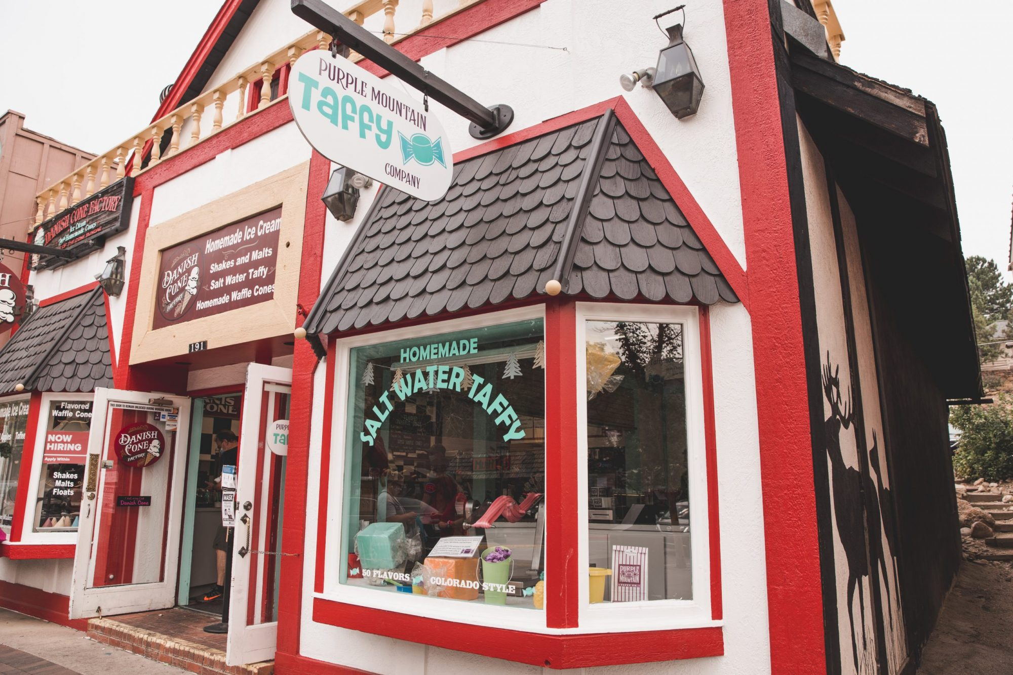 Red and white Saltwater Taffy Store in Estes Park, Colorado