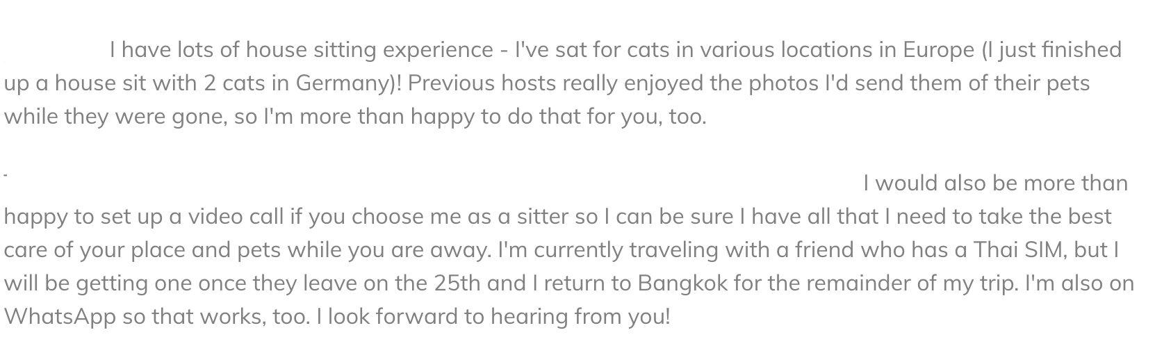 Example of part of a House sitting message - what to say to someone you want to house sit for!