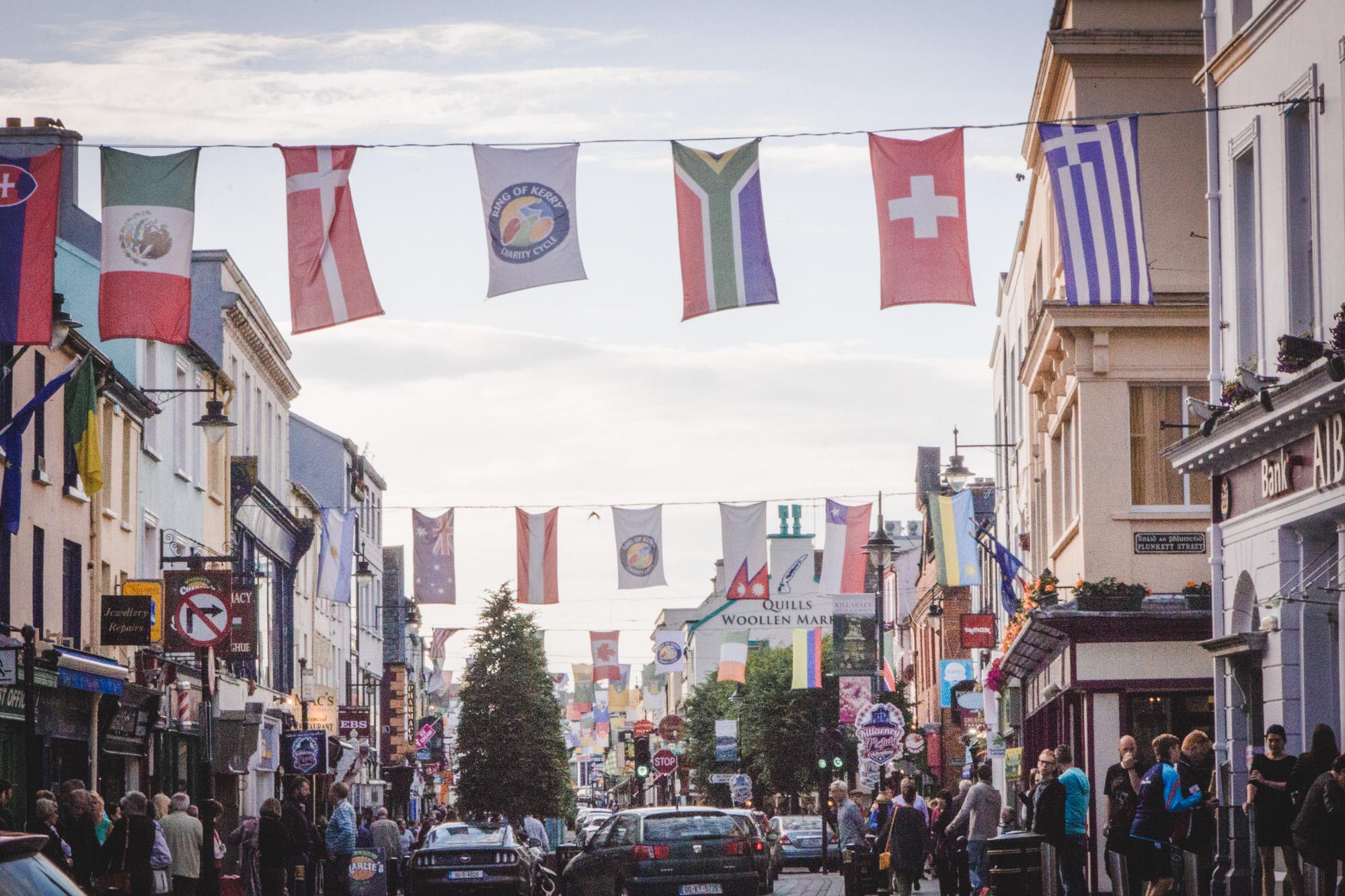 Flags in Killarney in Ireland