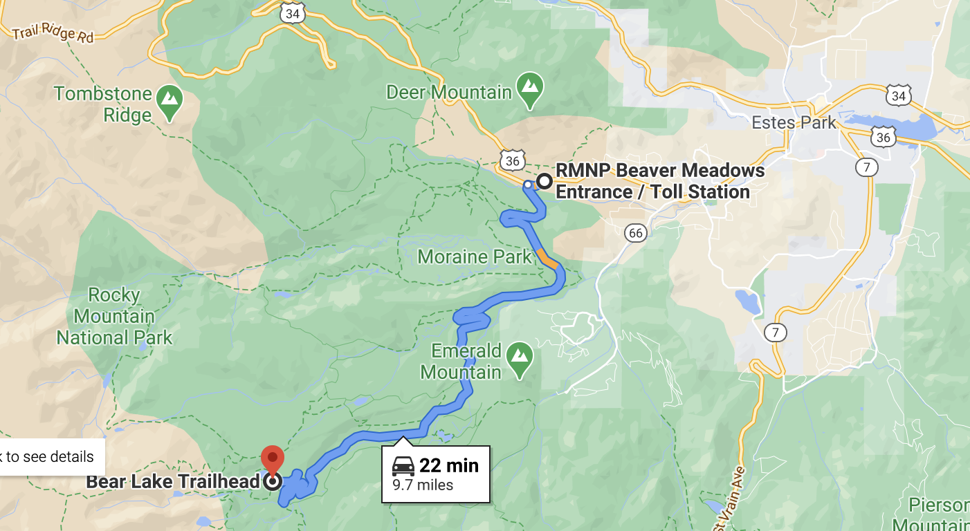 Bear Lake Map in Rocky Mountain National Park