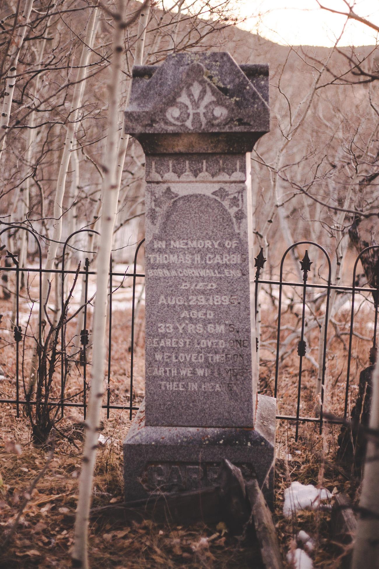 Old gravestone in Central City Cemetery in Colorado