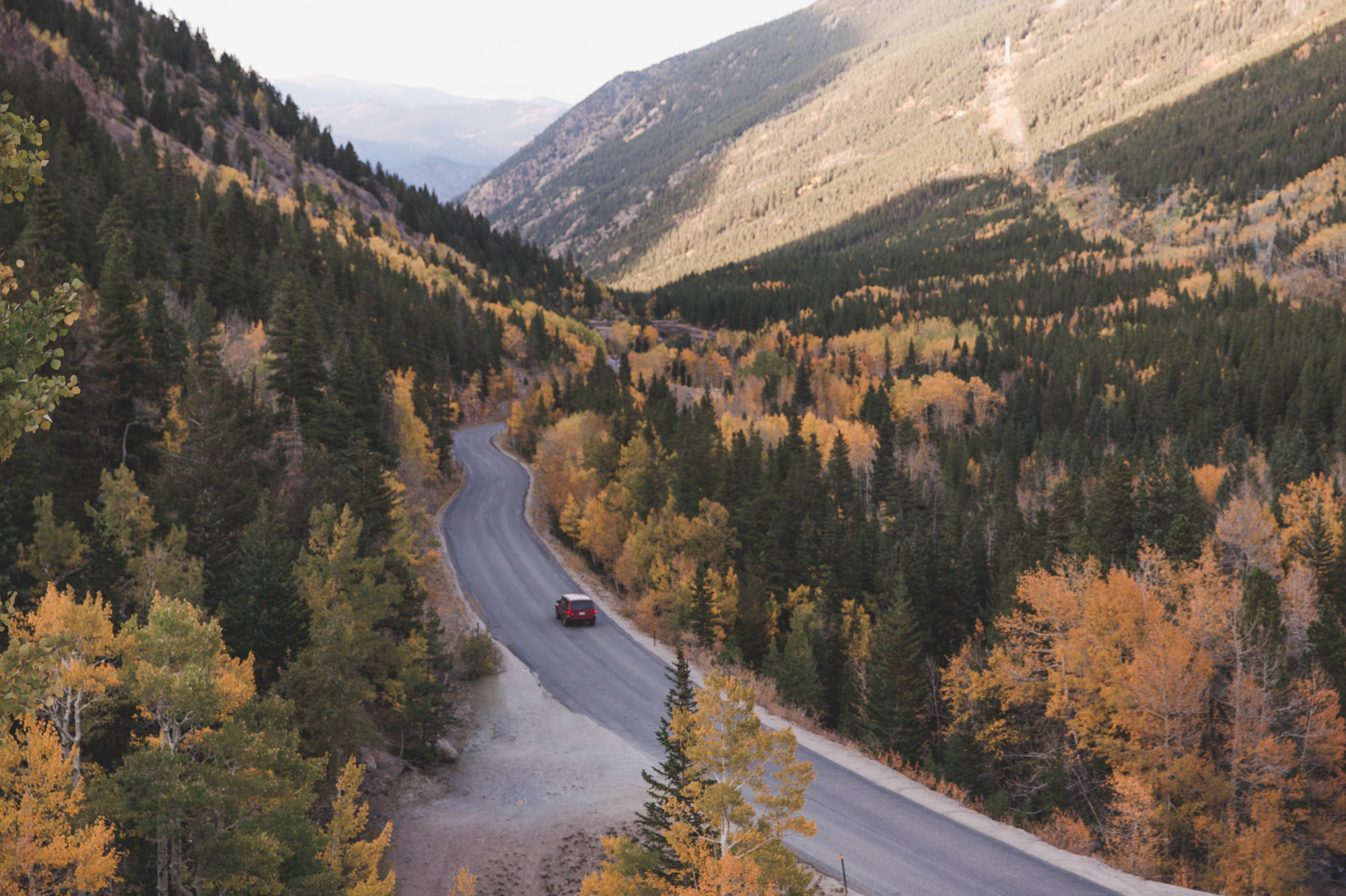 View of Guanella Pass Road in Colorado in fall, with a car on the road surrounded by green pine trees and yellow aspen trees