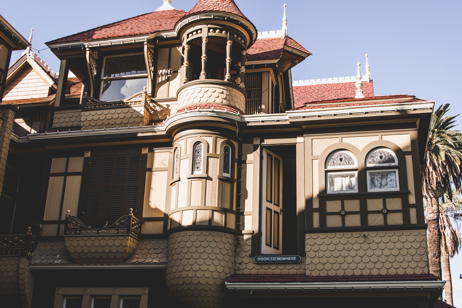 The door to nowhere in the Winchester Mystery House in San Jose, CA