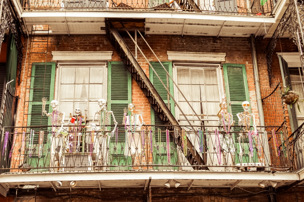 New Orleans Mardi Gras Decor - skeletons decorating a balcony