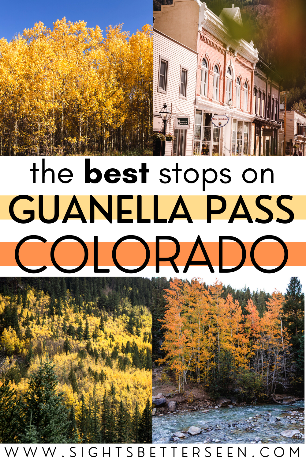 "Text says, ""The Best Stops on Guanella Pass Colorado"" with yellow and orange aspens behind it"