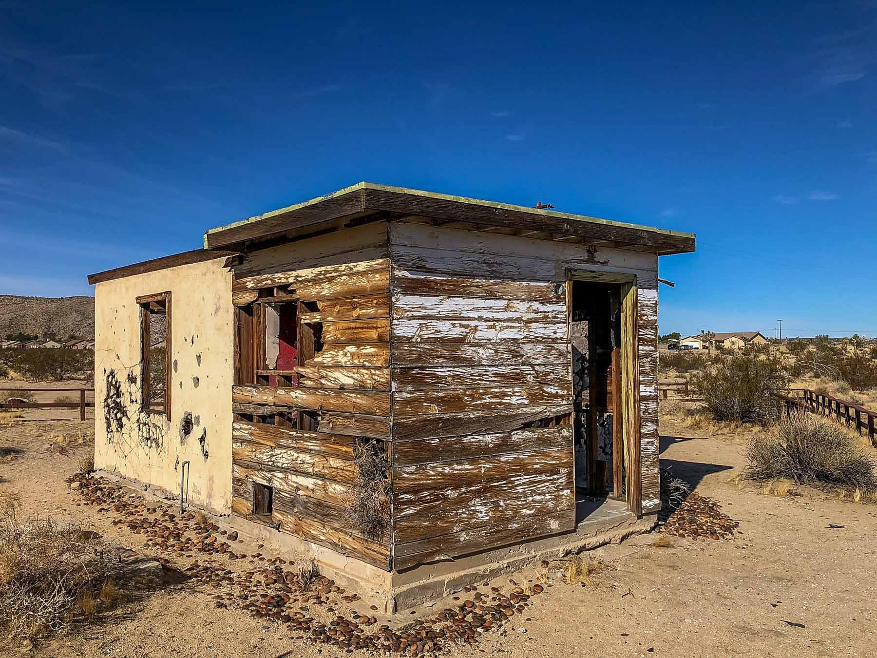 The Krblin Jihn Cabin is an old cabin in the desert in Joshua Tree, CA