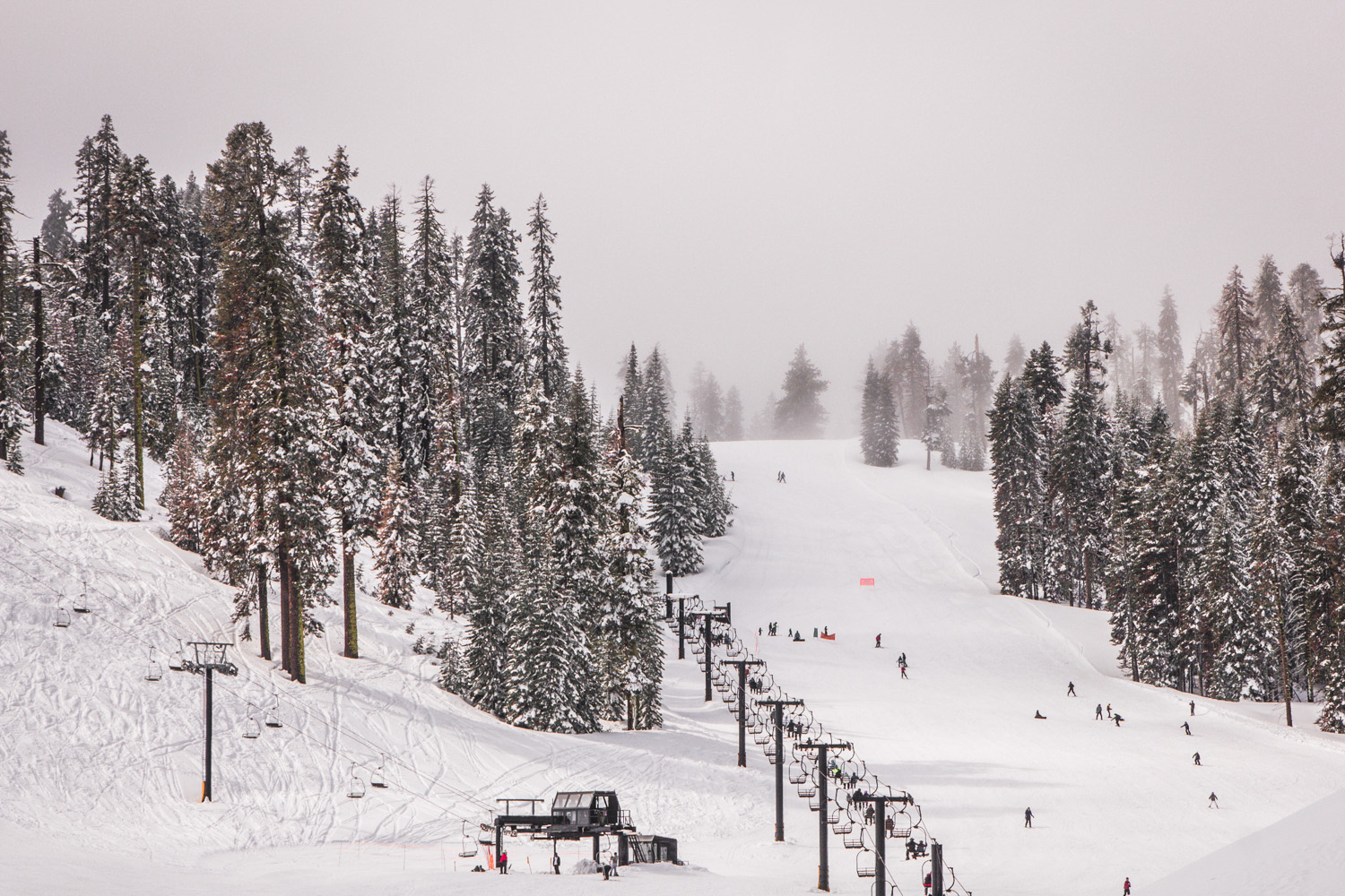 Badger Pass Ski Area in Yosemite, covered in snow, and full of skiers and snowboarders on the slopes and ski lift