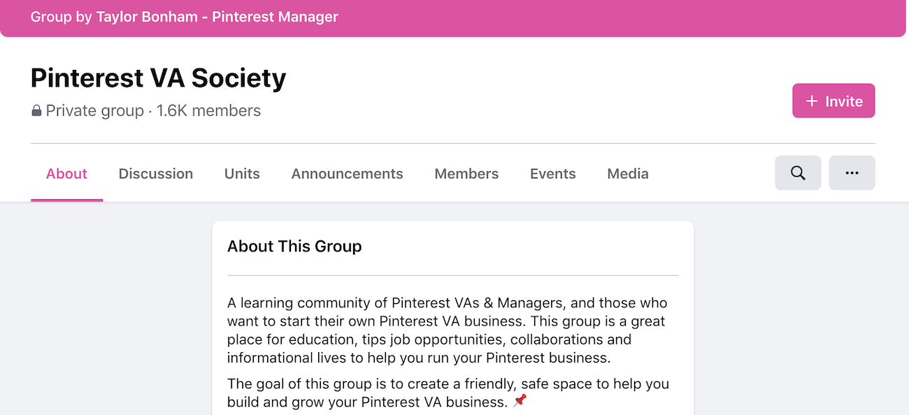 Pinterest VA Society Facebook Group homepage