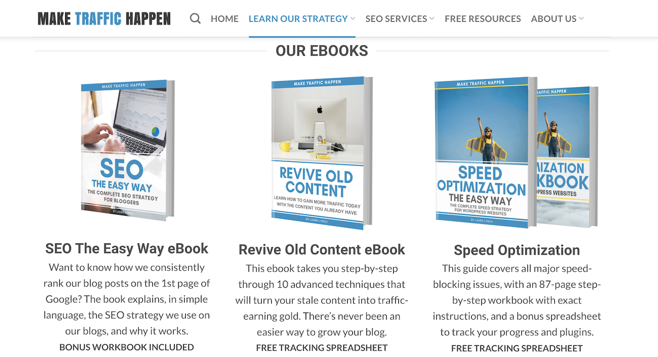 Make Traffic Happen Ebooks: SEO the Easy Way, Revive Old Content, Speed Optimization