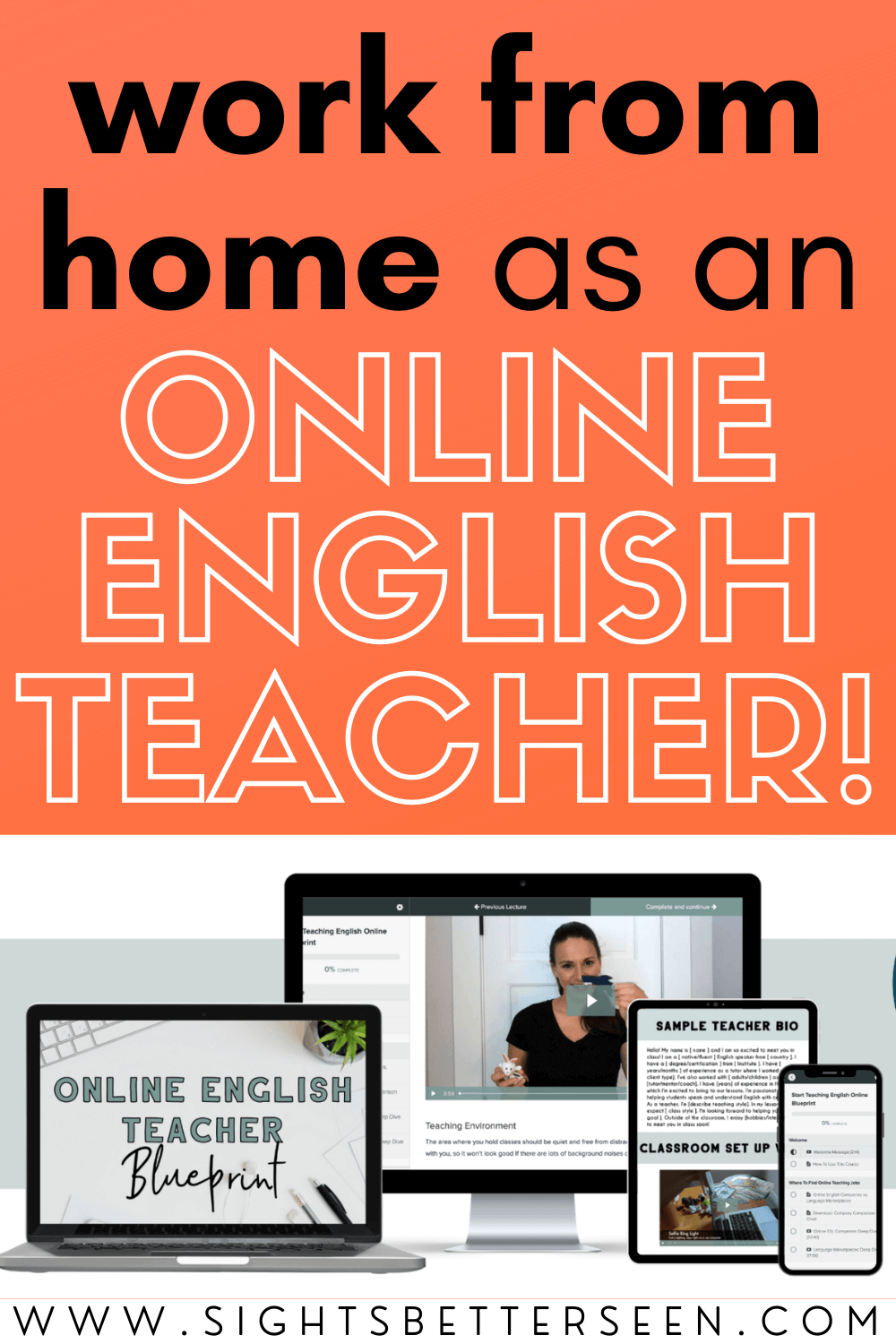 """Text says: """"Work from home as an ONLINE ENGLISH TEACHER!"""" on a bright orange background. Underneath is a photo of teaching materials from the course, Online English Teacher Blueprint."""