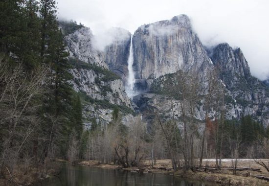 Upper Yosemite Falls in Yosemite National Park in California in winter - a beautiful place to add to your winter itinerary (even if you don't do the hike).