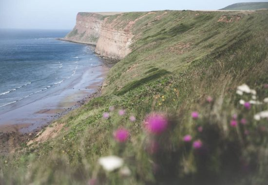 The Saltburn Cliffs along the Cleveland Way in Saltburn-by-the-Sea in England - one of the Yorkshire coastal towns to visit